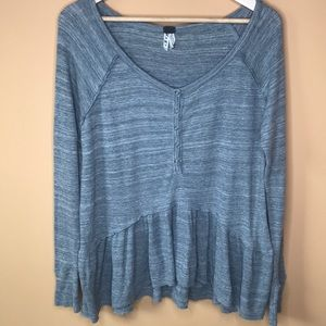 Free People We the Free Ruffle Thermal Top Blouse